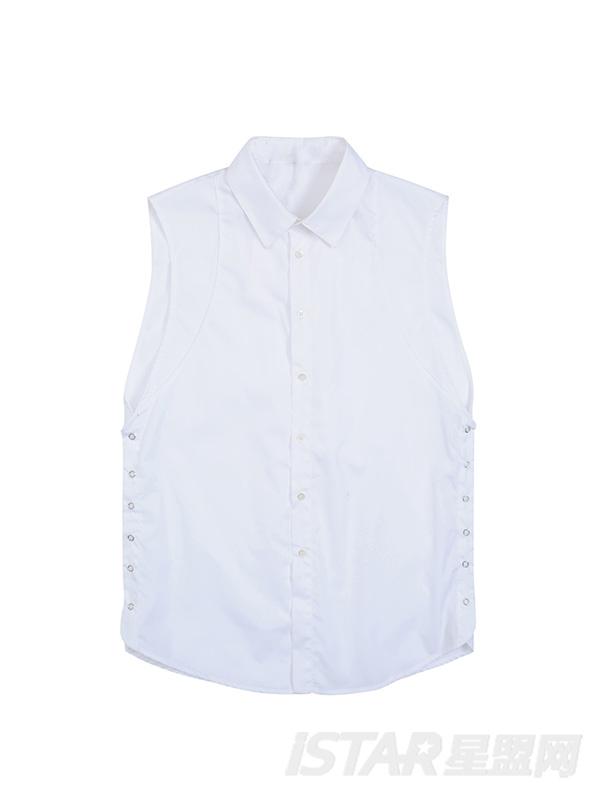 可拆卸白色无袖衬衫