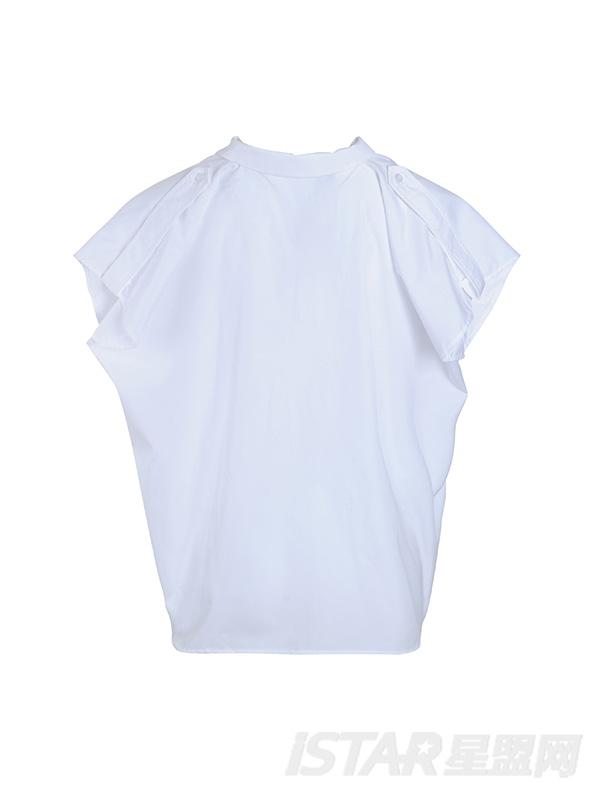 大袖口落肩白色衬衫
