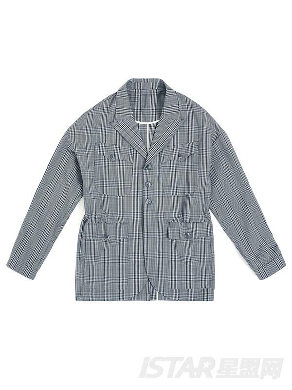 宽松休闲灰色格子收腰西装外套