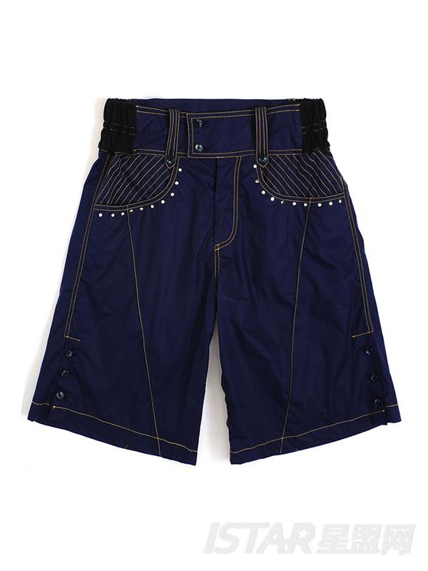 极光紫色阔腿五分休闲裤
