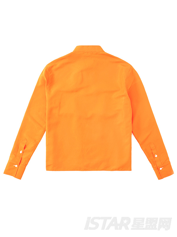 时尚小立领对称大口袋撞色衬衫