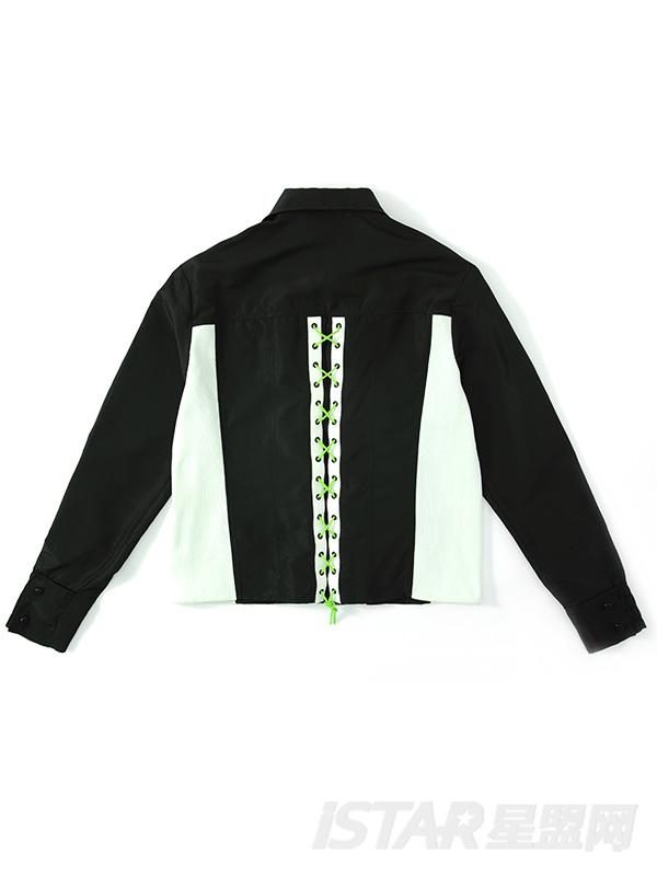 潮流撞色拼接系带时尚衬衫