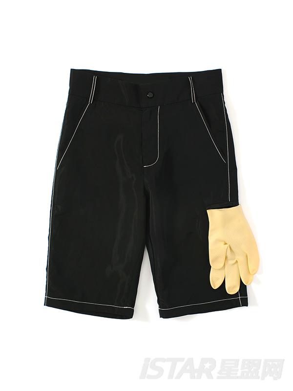 时尚手套装饰撞色压线黑色短裤