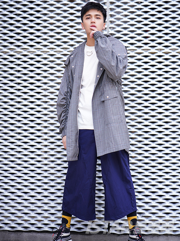 极光紫色阔腿7分休闲裤