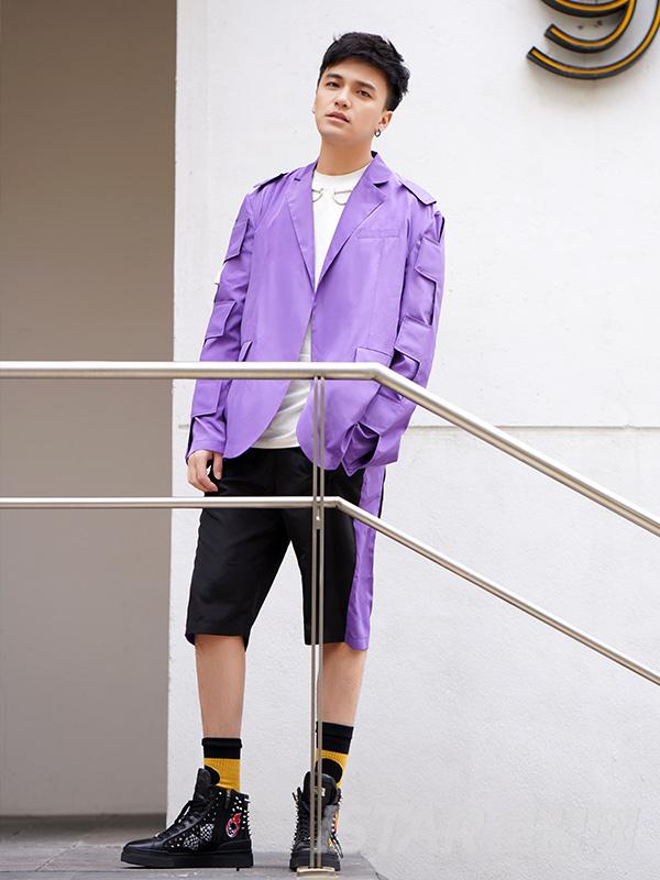 潮流紫黑拼接撞色运动短裤