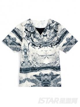 黑白迷彩印花V领时尚短袖T恤