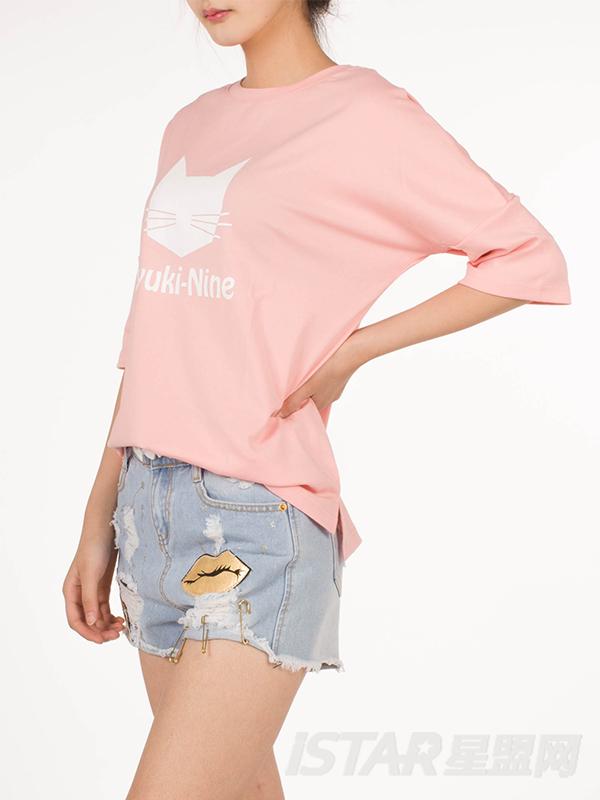猫咪中长袖T恤女款