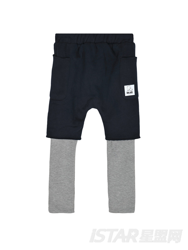 加绒假两件卫裤
