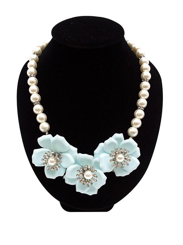 天然珍珠大花朵项链