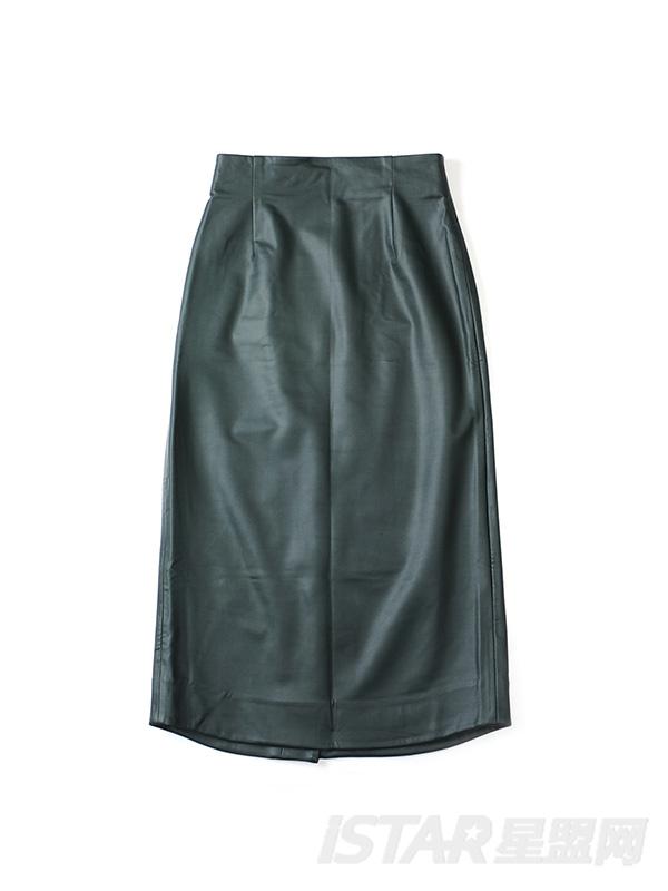 高腰背带不对称半裙