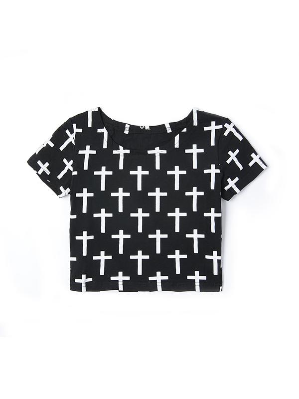 欧美复古十字架印花短袖T恤