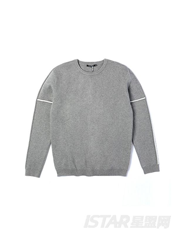 圆领灰色白条针织衫