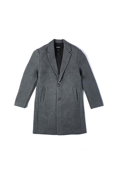 长款灰色呢加棉外套