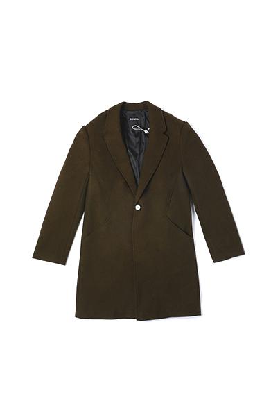 长款军绿呢西装领外套