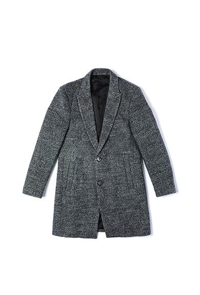 花灰粗呢长款外套