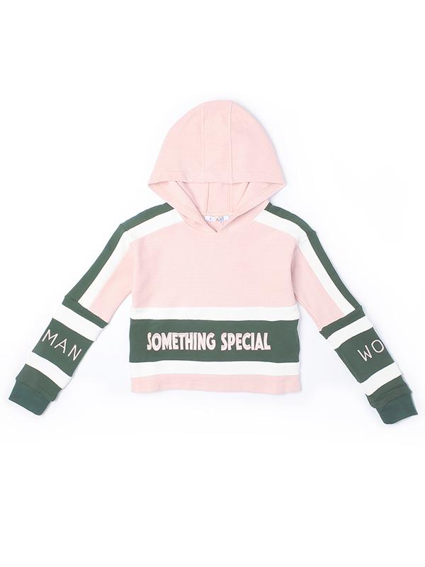 字母绣花粉色撞色带帽卫衣