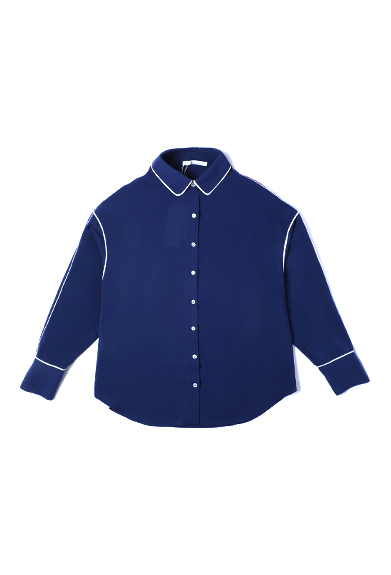 撞色包边蓝色宽松衬衫