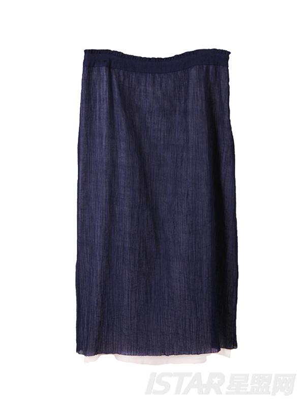 撞色直筒半裙