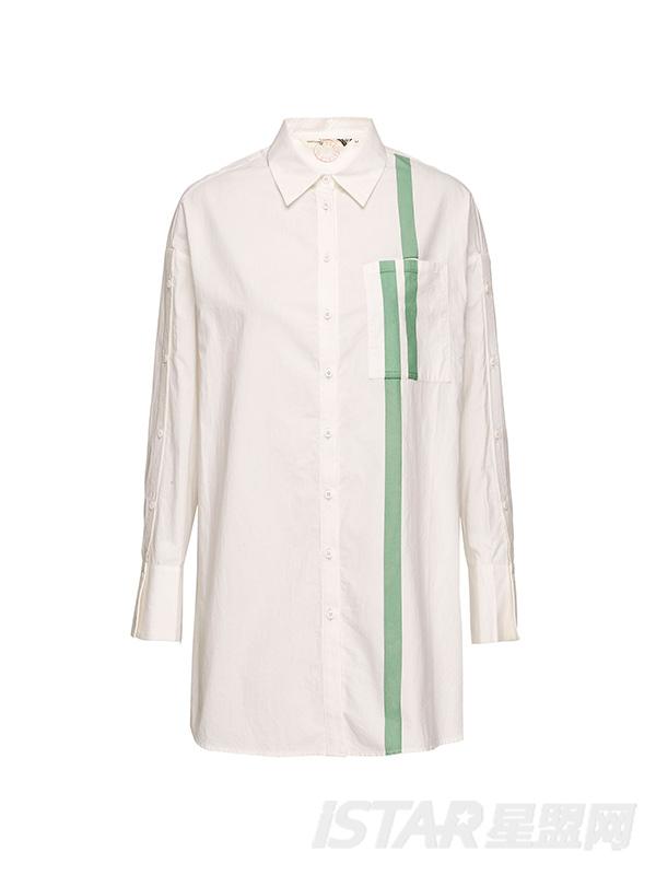 撞色拼接长衬衫