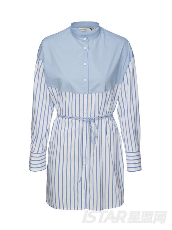 细带条纹连衣裙