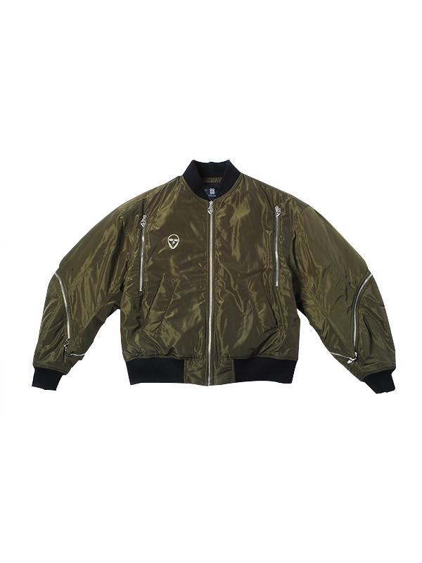 经典黑/时尚军绿抽象元素装饰棒球服外套
