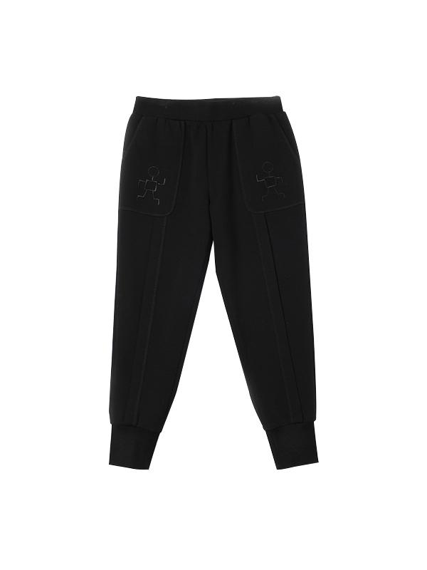 经典黑纯色运动休闲裤