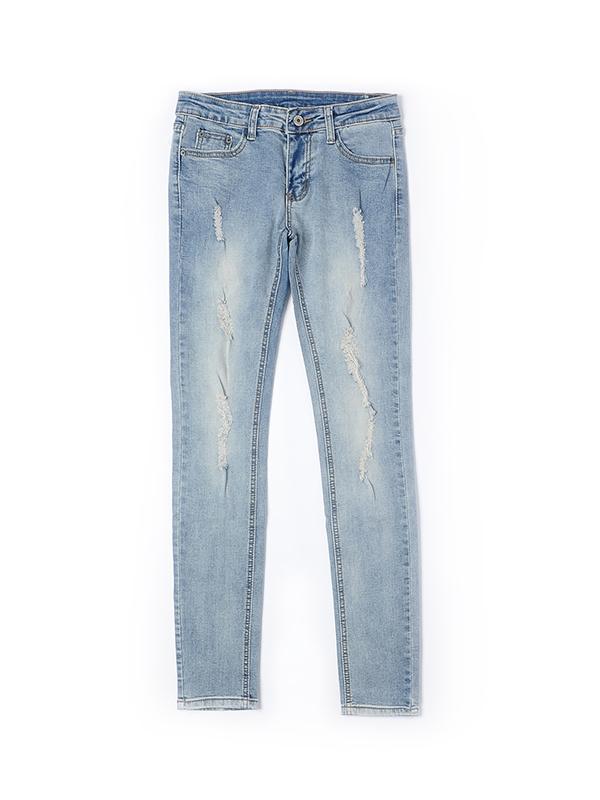 欧美时尚破洞修身牛仔裤