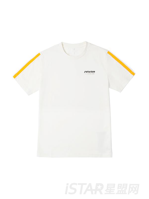 撞色条纹印花T恤
