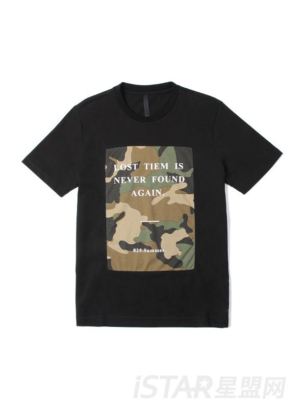 迷彩字母印花T恤