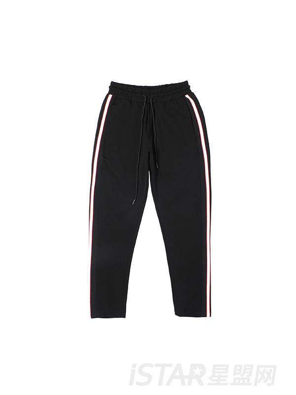 撞色条纹运动裤