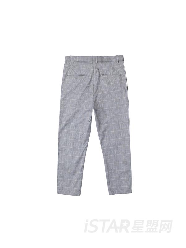 侧撞色条纹格子休闲裤