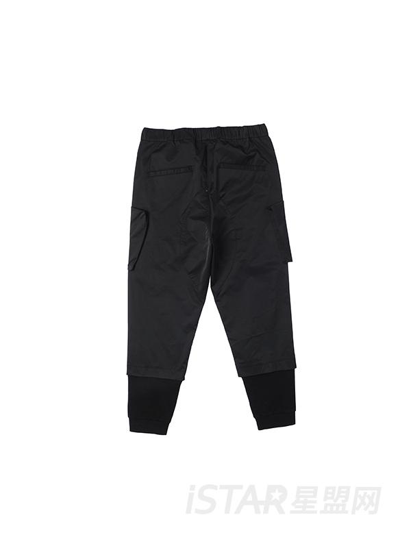 口袋装饰拼接休闲裤