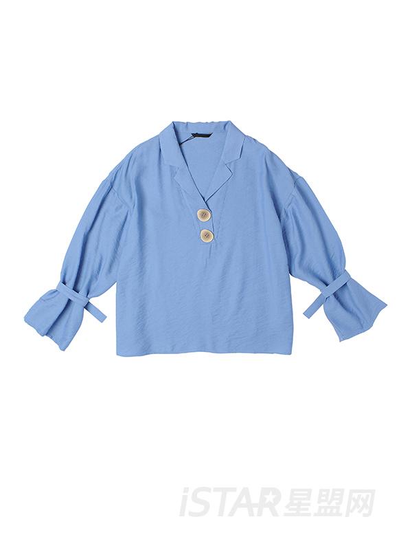 袖口绑带衬衫领上衣
