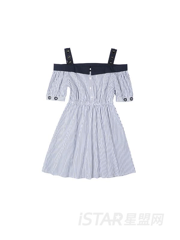 一字领吊带连衣裙